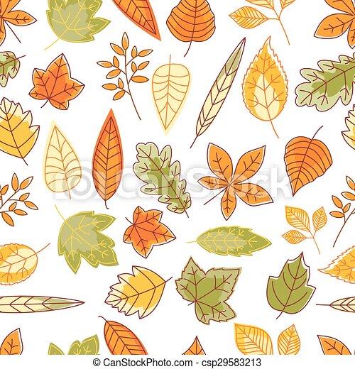 automne, modèle, feuilles, seamless - csp29583213