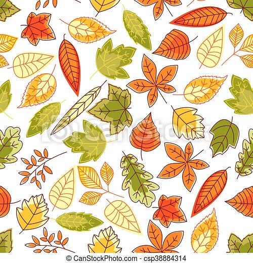 automne, modèle, feuilles, seamless, fond - csp38884314