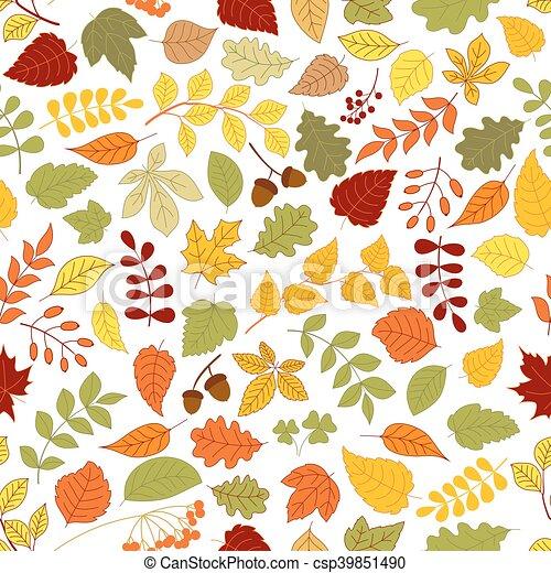 automne, modèle, feuilles, seamless, fond - csp39851490