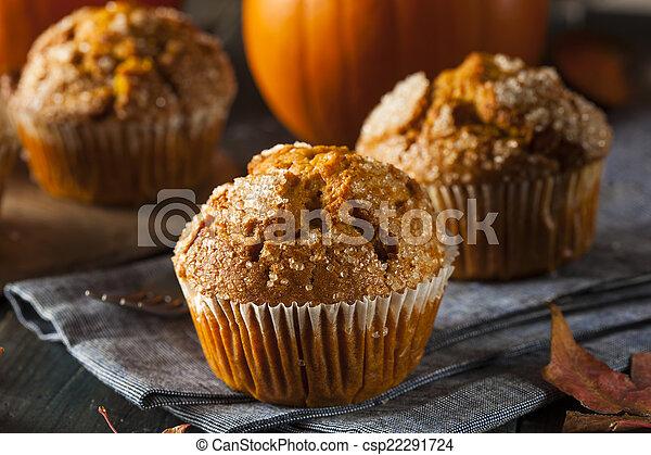 automne, muffin, fait maison, citrouille - csp22291724