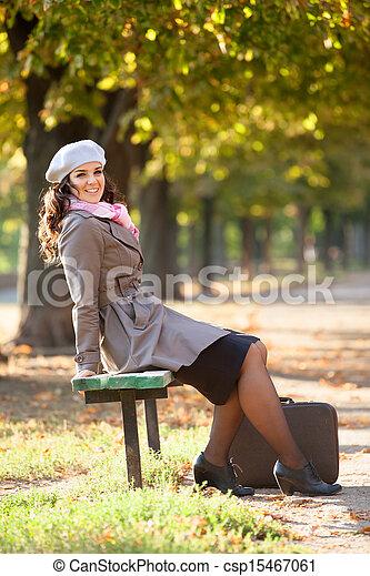 automne, outdoor., girl, valise - csp15467061