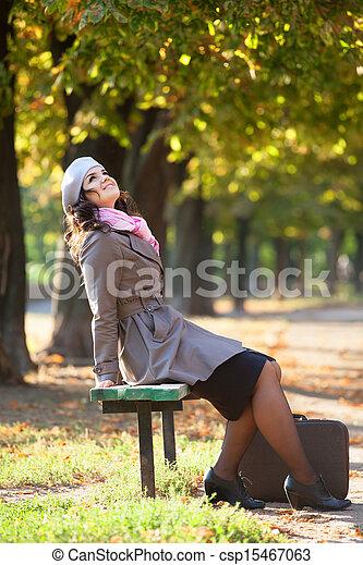 automne, outdoor., girl, valise - csp15467063