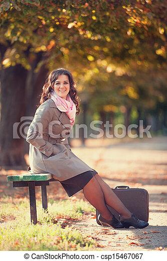 automne, outdoor., girl, valise - csp15467067