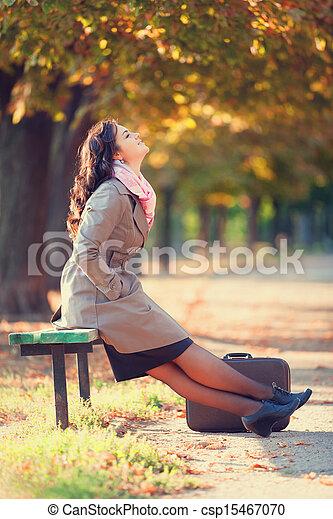 automne, outdoor., girl, valise - csp15467070