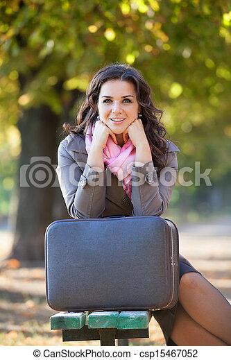 automne, outdoor., girl, valise - csp15467052