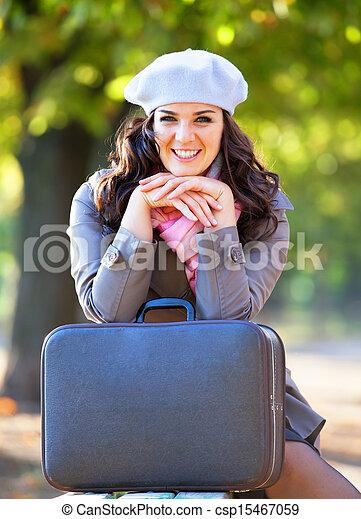 automne, outdoor., girl, valise - csp15467059
