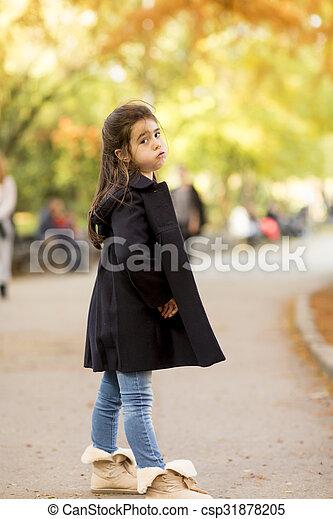 automne, peu, parc, girl - csp31878205