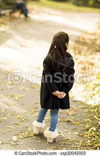 automne, peu, parc, girl - csp32042003