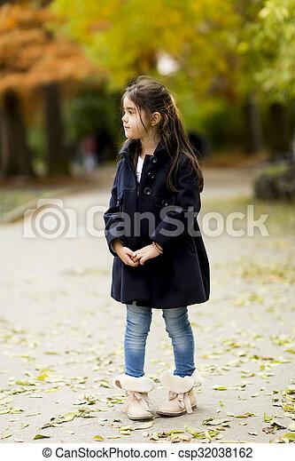 automne, peu, parc, girl - csp32038162