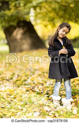 automne, peu, parc, girl - csp31878156