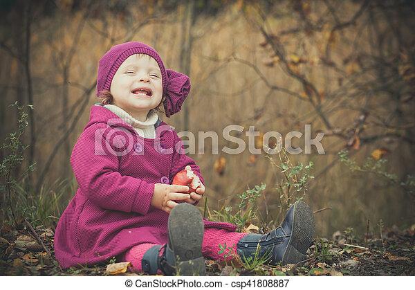 automne, peu, parc, girl - csp41808887