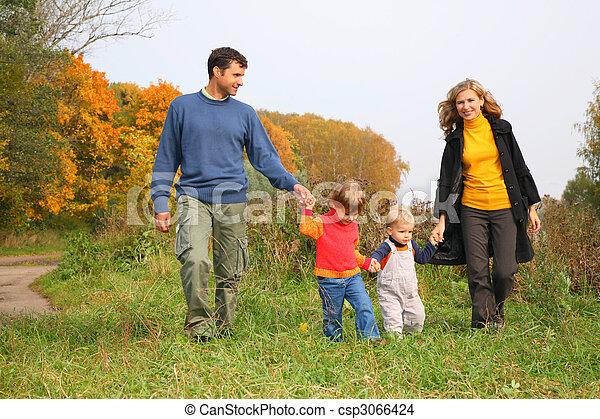 automne, quatre, parc, famille - csp3066424