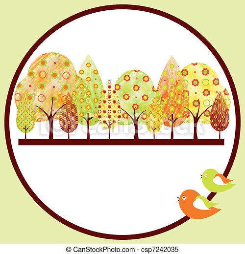 automne, résumé, arbre, carte voeux - csp7242035