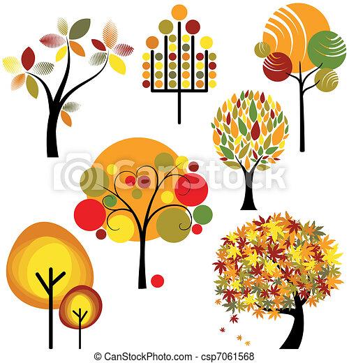 automne, résumé, ensemble, arbre - csp7061568