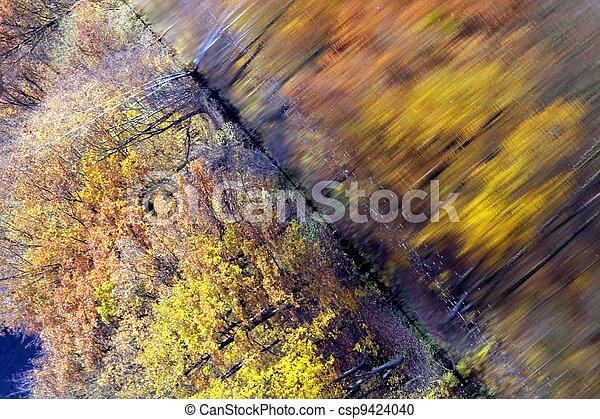automne, résumé, lac, perspective - csp9424040