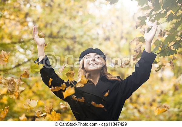 automne, roux, girl, park. - csp11347429