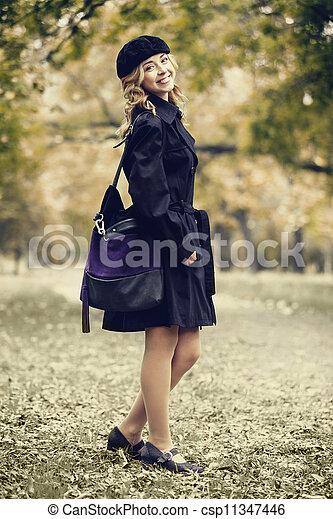 automne, roux, girl, park. - csp11347446