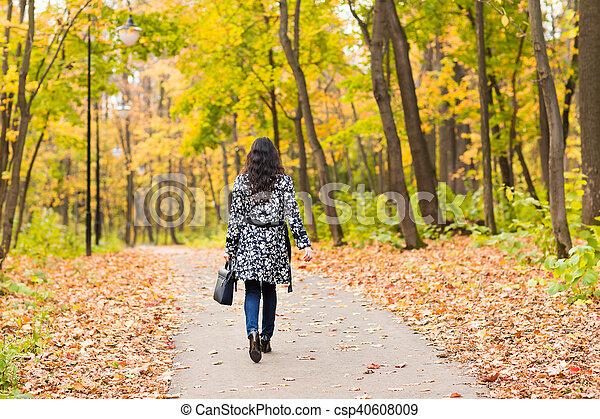 automne, sac, outdoor., girl - csp40608009