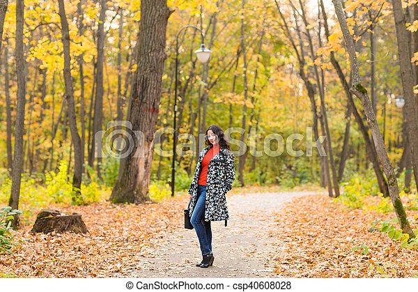 automne, sac, outdoor., girl - csp40608028