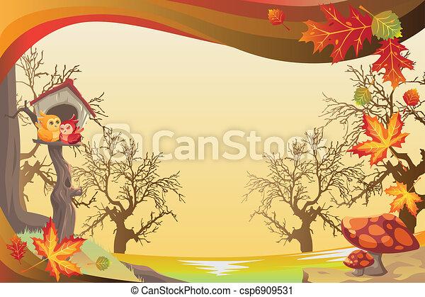 automne, saison, ou, fond, automne - csp6909531