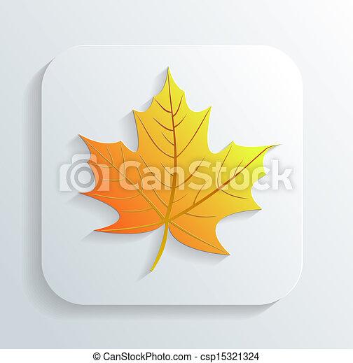 automne, vecteur, feuille, icône - csp15321324