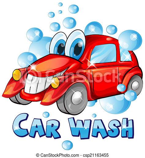 automobile, bianco, isolato, cartone animato, lavare - csp21163455