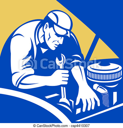 illustration of a automobile car repair mechanic with spanner set