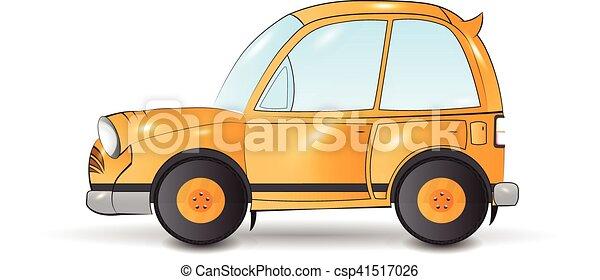 Automobile cartone animato giallo. divertente trasporto