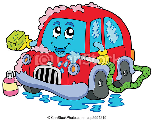 automobile, cartone animato, lavare - csp2994219
