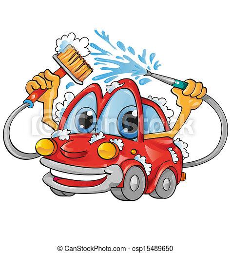 automobile, cartone animato, lavare - csp15489650