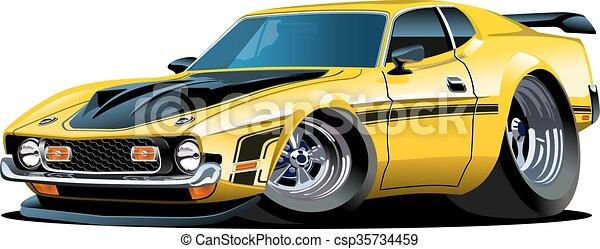 automobile, cartone animato, retro - csp35734459