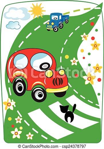 automobile, cartone animato, vettore, rosso - csp24378797