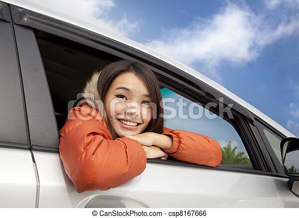 automobile, donna felice, giovane, asiatico - csp8167666