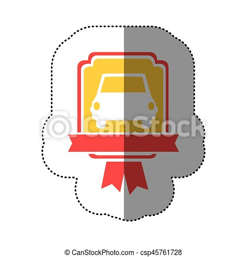 automobile front in yellow background and red heraldic frame with ribbon - csp45761728