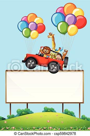 automobile, galleggiante, segno, animali, vuoto - csp59842978