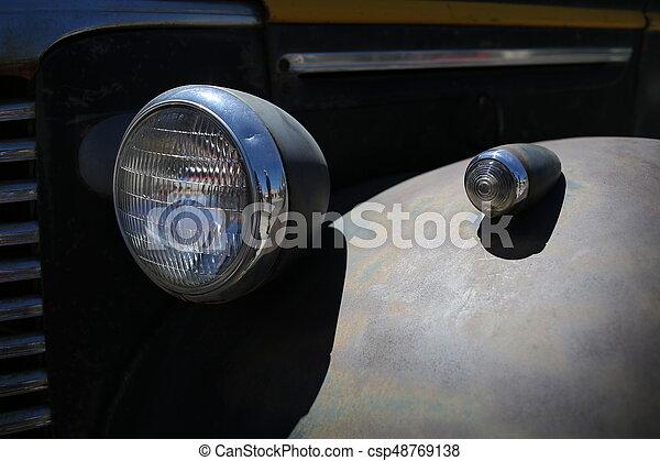 Automobile headlight. Close up - csp48769138