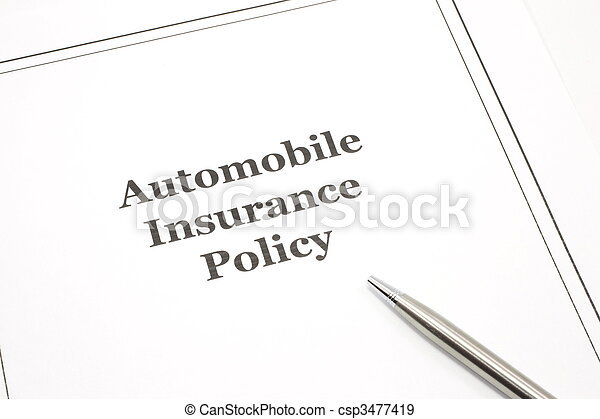 Automobile Insurance Policy with a Pen - csp3477419