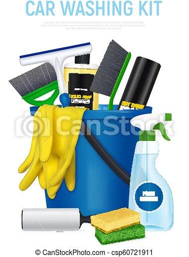 automobile, kit, lavaggio, composizione, realistico - csp60721911