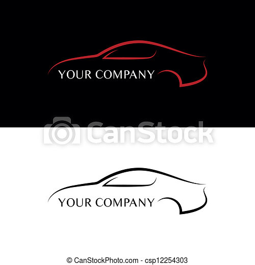 automobile, nero rosso, logos - csp12254303