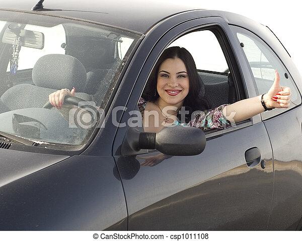 automobile, ragazza, felice - csp1011108