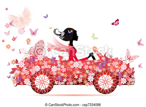 automobile, ragazza, fiore, rosso - csp7334086
