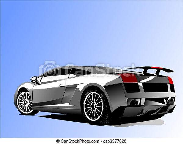 Automobile show with concept-car Vector illustration - csp3377628