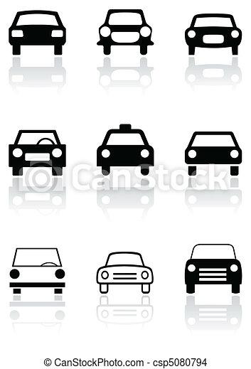 automobile, simbolo, segno, vettore, o, strada, set. - csp5080794