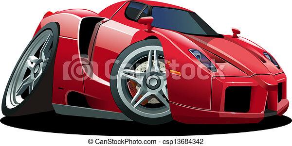 automobile, sport, cartone animato - csp13684342