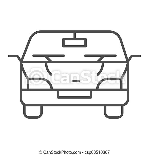 Automobile thin line icon. Car vector illustration isolated on white. Vehicle outline style design, designed for web and app. Eps 10. - csp68510367
