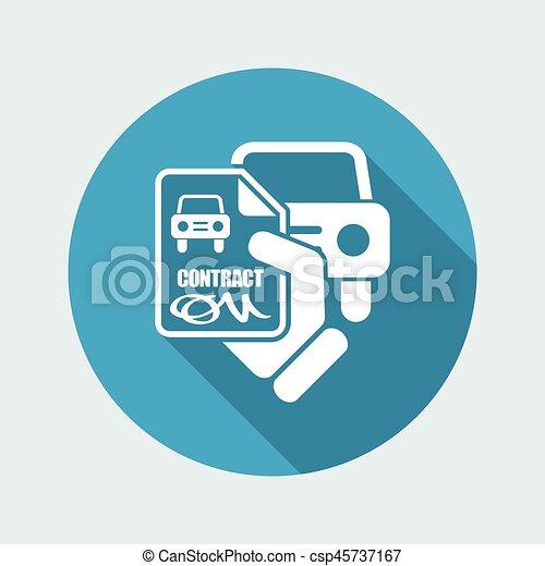 automobilen, kontrakt, ikon - csp45737167