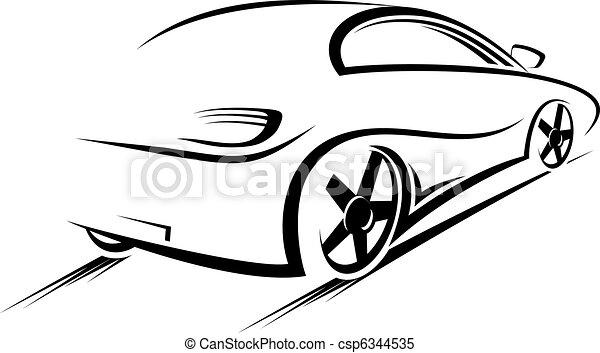 automobilen, silhuet - csp6344535