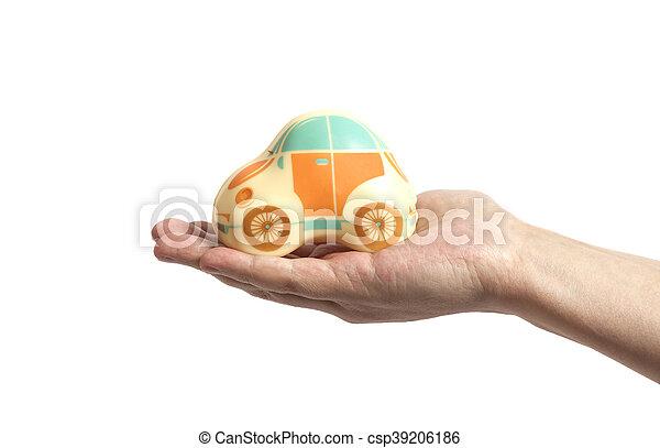 automobilen, stykke legetøj, hånd - csp39206186