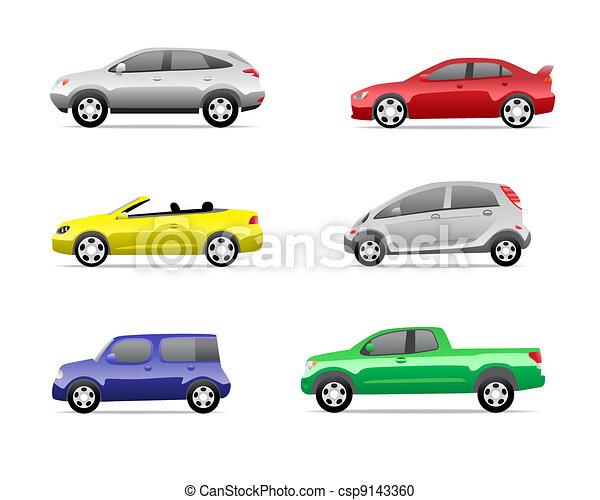 automobili, 3, parte, set, icone - csp9143360