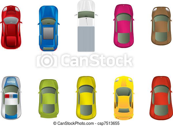 automobili, cima, differente, vista - csp7513655